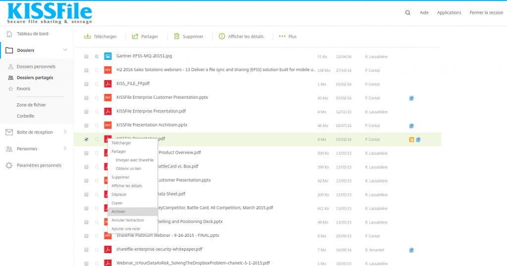 KissFile - Citrix ShareFile - Archiver