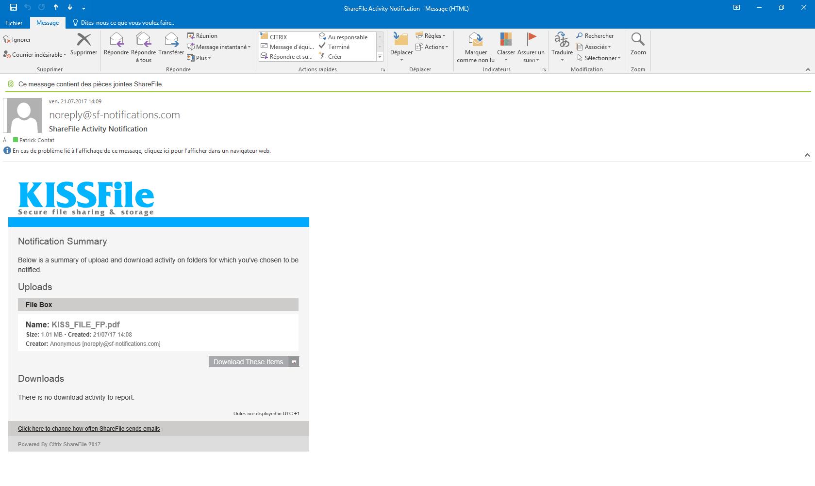 KissFile - Citrix ShareFile - Demande de fichier via Outlook notification