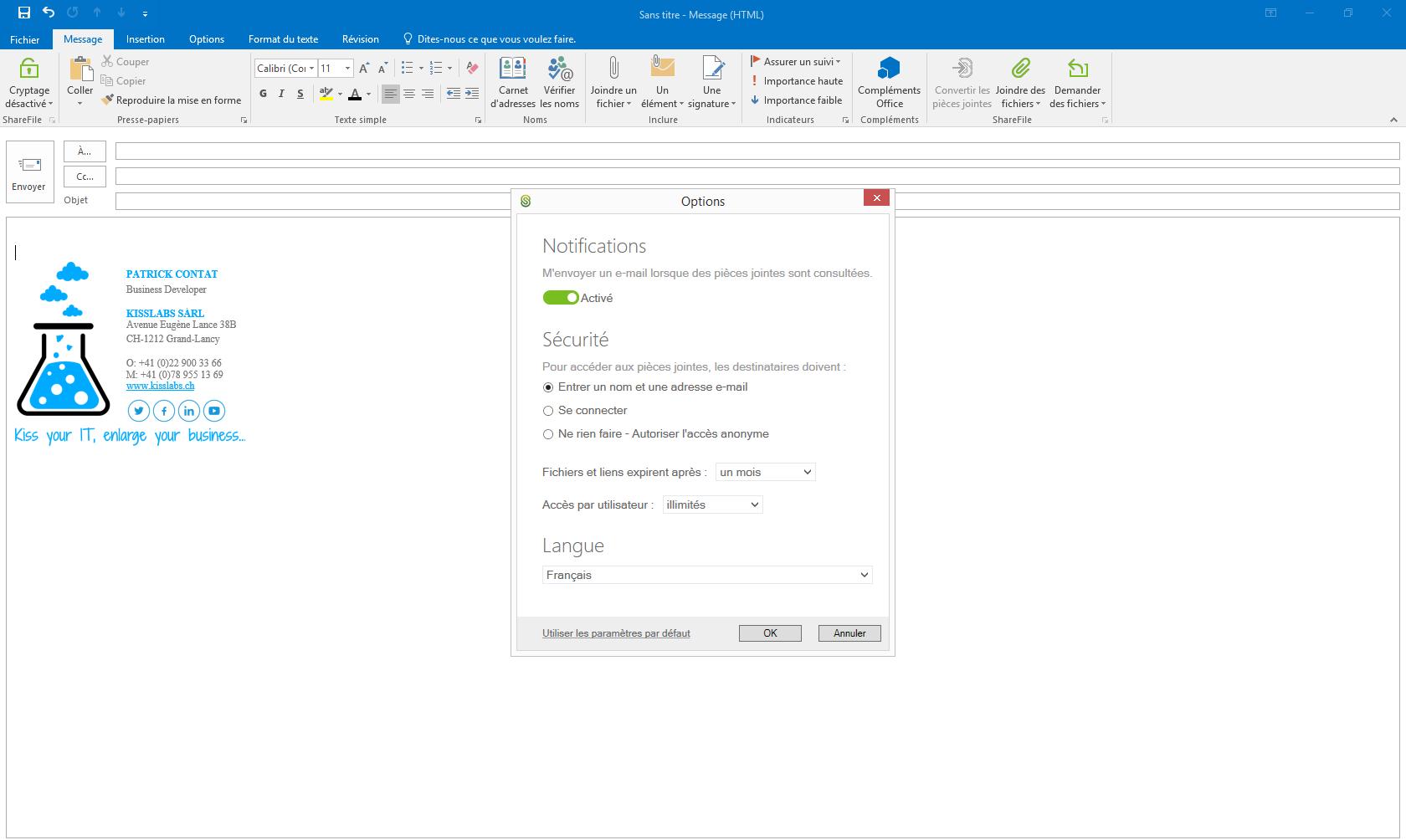 KissFile - Citrix ShareFile - Share File via Outlook settings