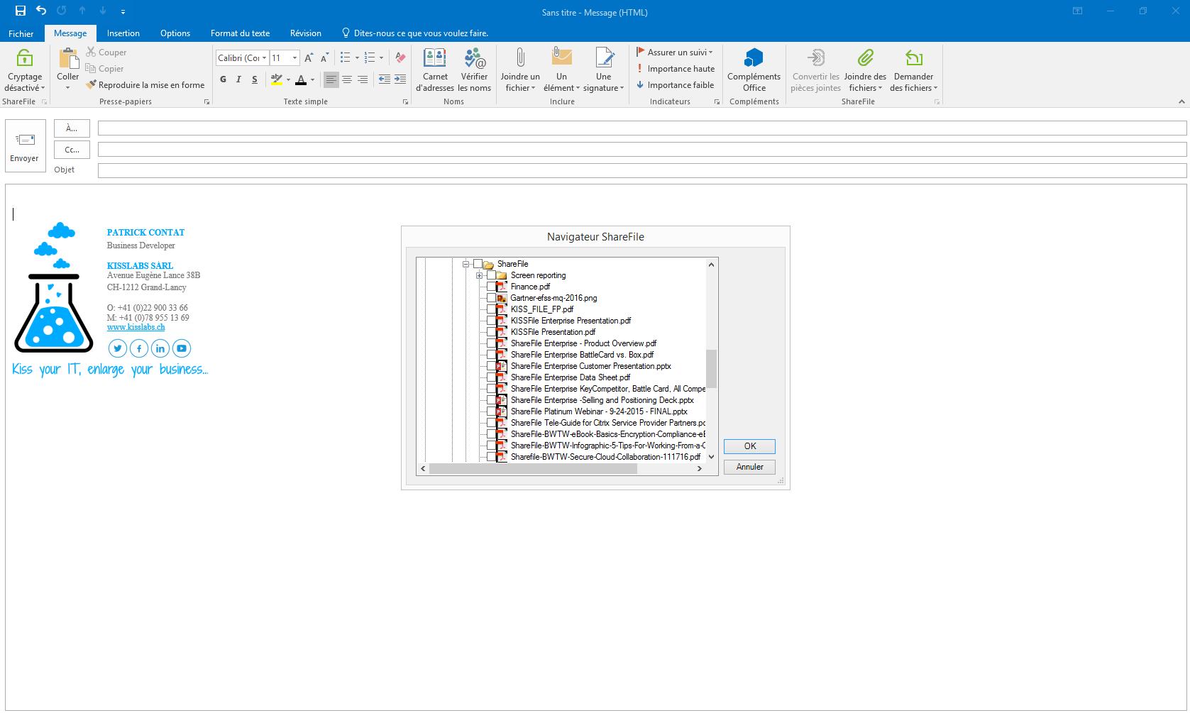 KissFile - Citrix ShareFile - Joindre fichier via Outlook emplacement