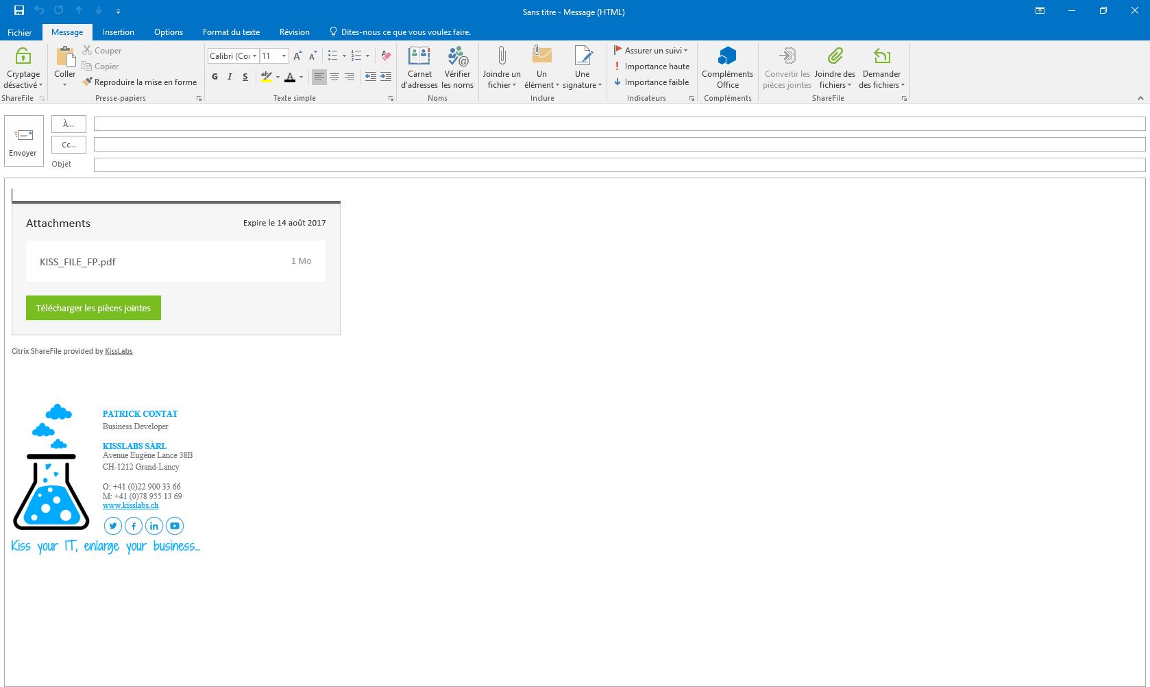 KissFile - Citrix ShareFile - Share File via Outlook