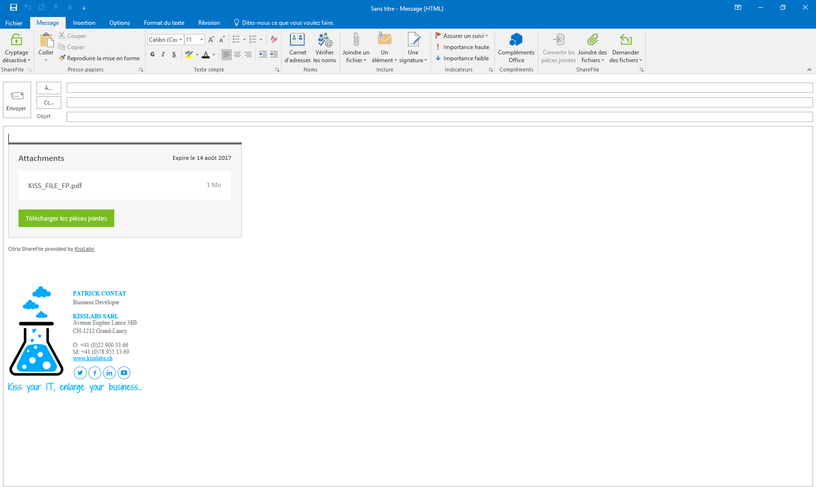 KissFile - Citrix ShareFile - Joindre fichier via Outlook