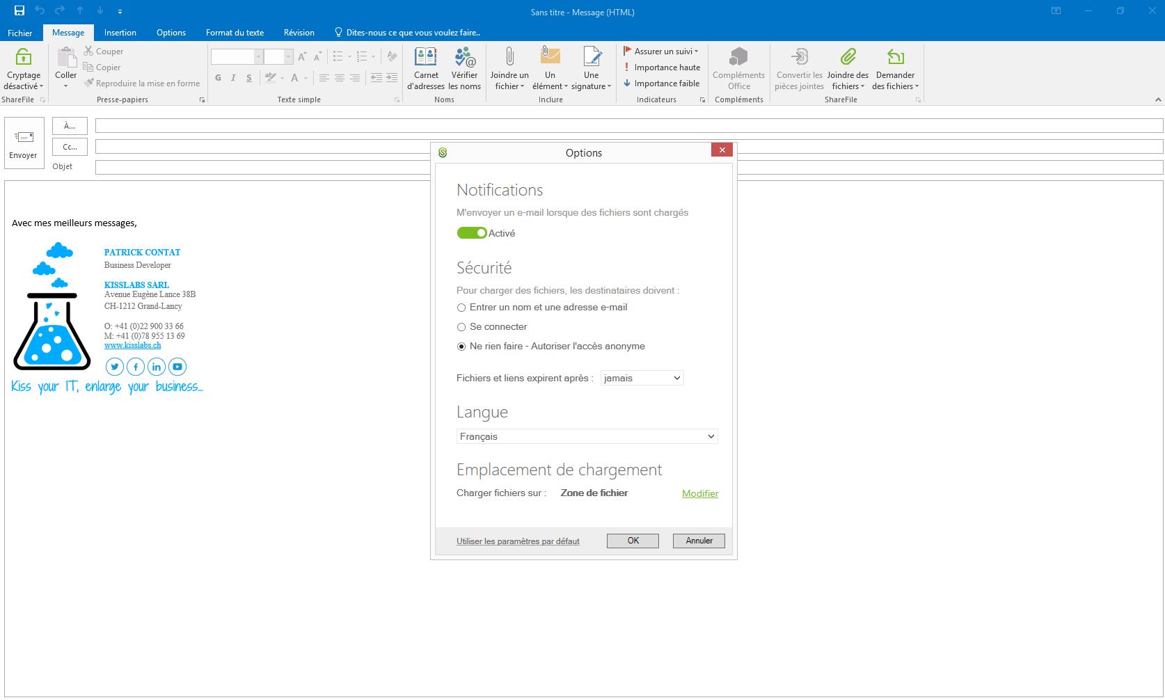 KissFile - Citrix ShareFile - Demande de fichier via Outlook paramètres