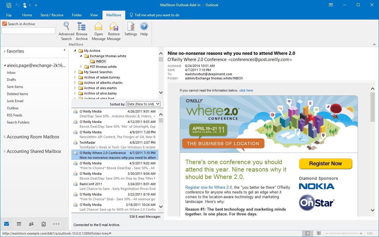MailStore - Outlook intégration